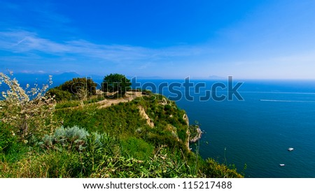 View of Naples gulf from the Virgiliano Park in Napoli with tree on the sea
