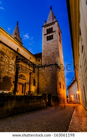 View of narrow Jirska Street between St. George Basilica and Convent for Noble Ladies in Prague Castle in Prague, Czech