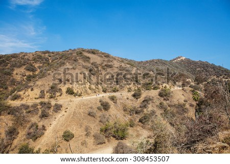 View of natural in mountains, Los Angeles runyon canyon park, California. mountain summer landscape