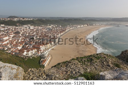 View of Nazare from the cliffs, Portugal