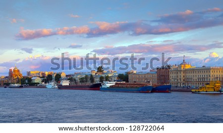 view of Neva river in morning. Saint Petersburg, Russia