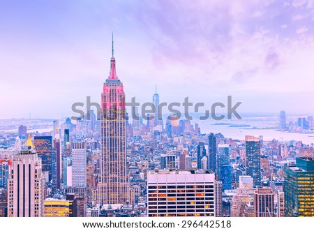 View of New York City at dusk. - stock photo