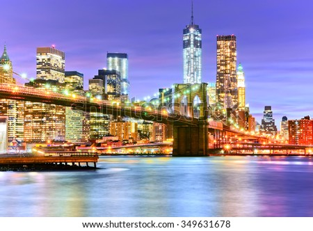 View of New York City at night