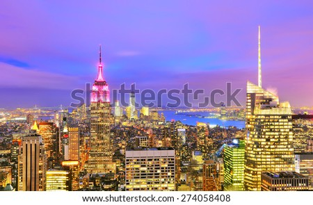 View of New York City at twilight - stock photo