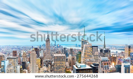 View of New York City in a cloudy day. - stock photo