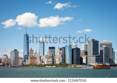 View of New York Financial District on a clear sunny summer day - stock photo