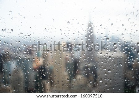 View of New York on Rainy Day. - stock photo