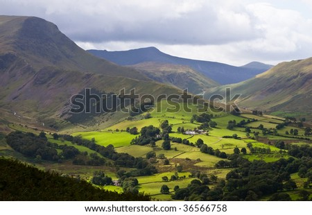 View of Newlands Valley from Catbells fell in Lake District