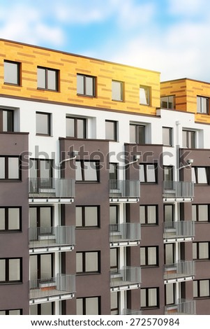 View of newly built block of flats - stock photo