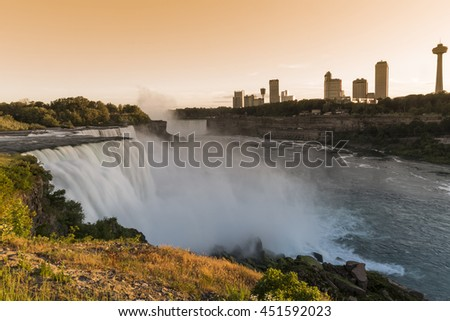 View of Niagara Falls and the city of Ontario from the US side