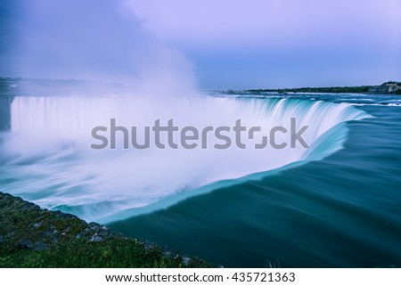 View of Niagara Falls, Ontario, Canada during sunset