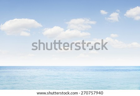 view of nice  blue ocean surface and cloudy sky - stock photo