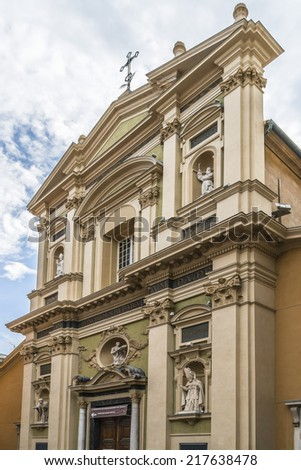 View of Nice Cathedral (Basilique - Cathedrale Sainte-Marie et Sainte-Reparate de Nice, 1699) is cathedral of the Diocese of Nice, located in old town of Nice. - stock photo