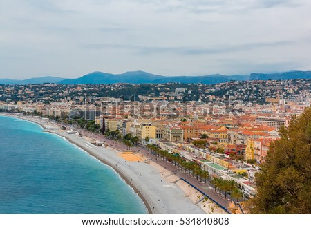 View of Nice coastline on the Mediterranean Sea, Cote d'Azur, France