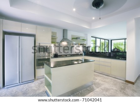 View of nice kitchen interior - stock photo
