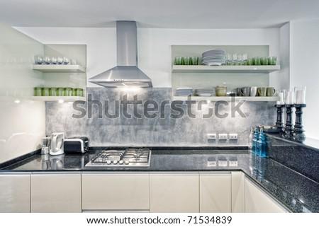 View of nice kitchen interior - stock photo