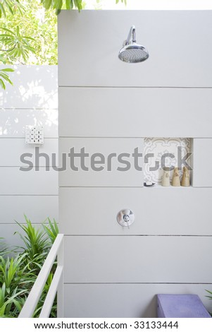 View of nice stylish summer house  shower place - stock photo