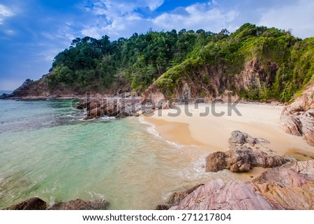 View of nice tropical beach. - stock photo