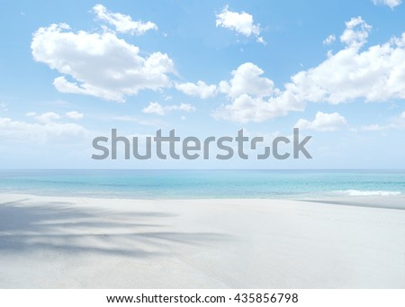 View of nice tropical beach with blue sky above  - stock photo