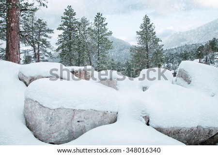 view of  nice winter  mountain landscape  during  falling  snow - stock photo