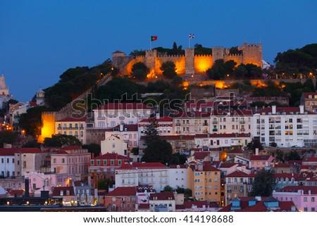 View of night Lisbon  - stock photo