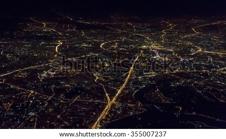View of night Moscow from the plane, Russia .