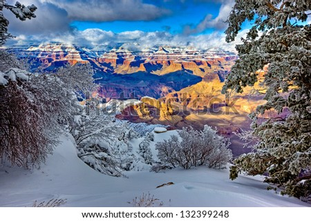 View of North Rim from Yaki Point, Grand Canyon South Rim, Arizona - stock photo