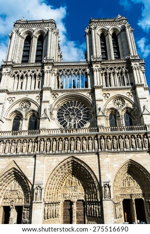 View of Notre Dame church in Paris - stock photo