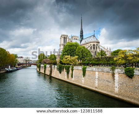 View of Notre Dame de Paris from Seine, Paris, France - stock photo