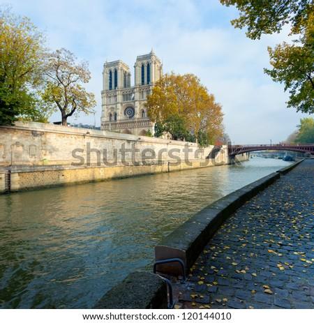 View of Notre Dame de Paris in october,Paris,France - stock photo