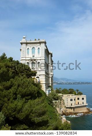 View of Oceanographic Museum of Monte Carlo, Monaco. - stock photo