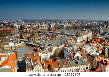 View of Odra river and bridges in Wroclaw