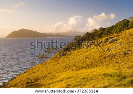 View of of the ocean from the coastline of Orpheus Island, Queensland, Australia - stock photo