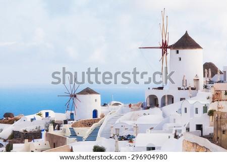 view of oia town in santorini greece - stock photo
