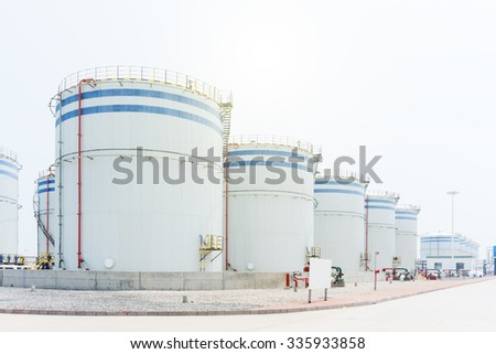 view of oil depot - stock photo