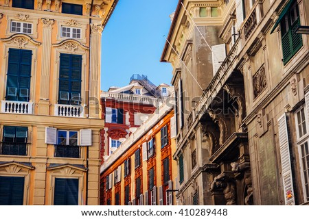 View of old buildings in the historical centre of Genova, Italy. - stock photo