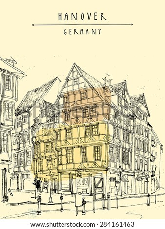 View of old center in Hanover, Germany, Europe. Historical building line art. Freehand drawing with liner pen and pencils on paper. Travel sketch with hand lettering. Postcard graphic design template
