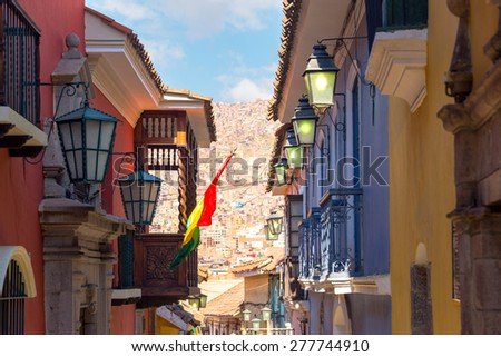 View of old colonial buildings on Jaen Street in La Paz, Bolivia - stock photo