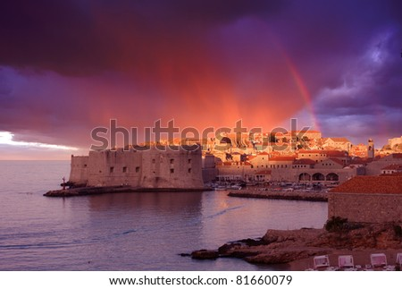 view of old Dubrovnik - stock photo