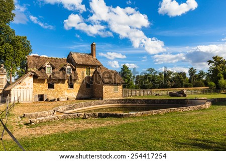 View of old hamlet of the Queen Marie-Antoinette's estate near Versailles palace, paris, France - stock photo