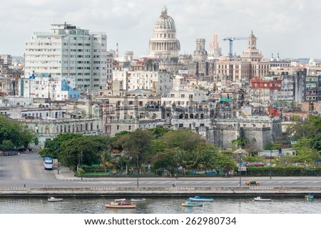 View of Old Havana including the Capitol building and several other landmarks - stock photo