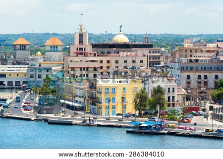View of Old Havana with beautiful old buildings along the bay - stock photo