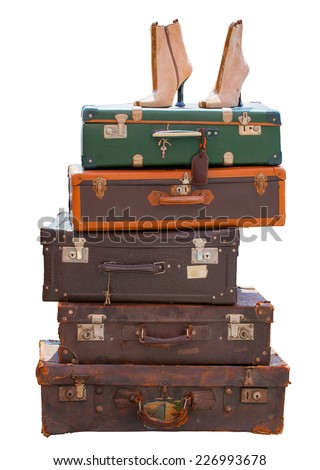 View of old luggage isolated on white background