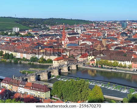 View of Old Main Bridge from Marienberg Fortress in Wurzburg, Germany - stock photo