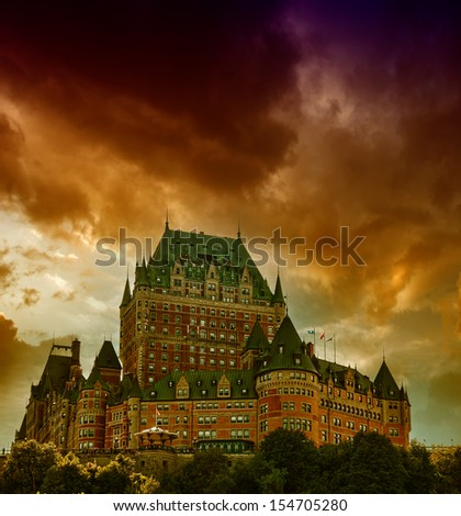 View of old Quebec and the Chateau Frontenac during a storm, Quebec, Canada. - stock photo