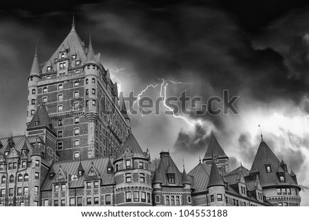 View of old Quebec and the Chateau Frontenac, Quebec, Canada. It was designated a National Historic Site of Canada during 1980 - stock photo