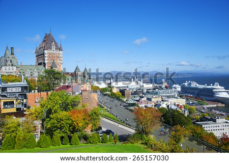 VIEW OF OLD QUEBEC AND THE CHATEAU FRONTENAC, QUEBEC, CANADA,Oct.1st.2014 - stock photo