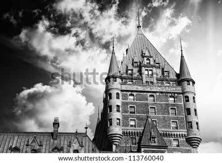 View of old Quebec and the Chateau Frontenac, Quebec, Canada. The site was the residence of the British governors of Lower Canada. - stock photo
