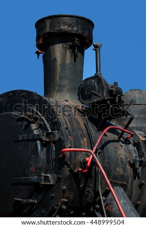 View of old steam locomotive - stock photo
