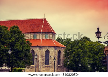 View of Old Tallinn city at sunset light, Estonia - stock photo